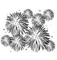Black and white fireworks vector image