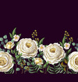 border with english yellow roses vector image vector image
