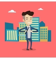 Business man opening his jacket like superhero vector image vector image