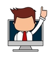 businessman funny with computer character icon vector image