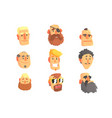 cartoon avatar men faces with different emotions vector image vector image