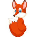 cartoon fox look back vector image vector image
