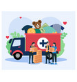 charity truck donate in flat style vector image vector image