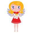 christmas cartoon angel girl with gift vector image