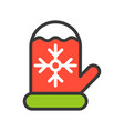 christmas glove christmas related style design vector image vector image
