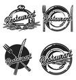 color vintage restaurant emblems vector image