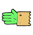 comic cartoon zombie hand symbol vector image vector image