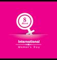 Creative International Woman Day Greeting vector image