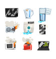 damaged home appliance set broken tv kettle vector image vector image
