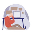 depressed man sitting table with computer sad vector image