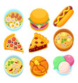dishes food dessert and meal tasty vector image