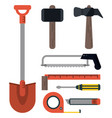 drill spatula saw wrench tool icon repair concept vector image vector image