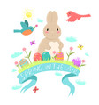 easter emblem with a rabbit eggs birds flowers vector image