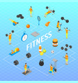fitness club infographics concept 3d isometric vector image