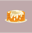 fresh tasty pancakes with cream on a plate vector image vector image