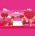 girls and boys holding white boards in the pink ga vector image vector image