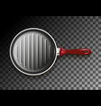 grill pan with red handle vector image