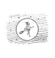 Hand drawn Halloween magic woman flying on broom vector image