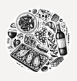hand sketched french food and drinks french vector image vector image