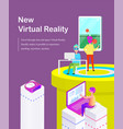 new virtual reality cartoon banner with gadgets vector image