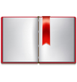Open book with white pages red cover and red vector image