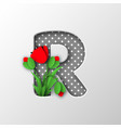 paper cut letter r with poppy flowers vector image