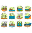 power plants icons set industrial buildings vector image vector image