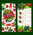price list for fresh garden berries market vector image vector image