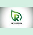 r leaf logo letter design with green leaf outline vector image vector image