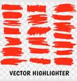 red highlighter marker strokes vector image