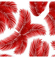 red palm leafs seamless pattern vector image vector image