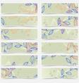 Retro vintage floral pattern card header set vector image