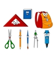 School supplies and objects in cartoon style vector image vector image