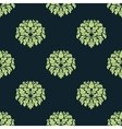 Seamless green colored damask pattern vector image