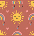 seamless pattern with basun and rainbow vector image vector image