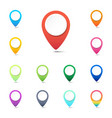 set colorful navigation pins gps location vector image