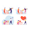 set male and female characters make donations vector image vector image