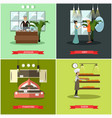 set of shops posters in flat style vector image vector image