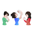 set of young asian mothers with baby in the hands vector image vector image