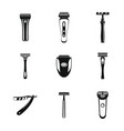 shaver blade razor personal icons set simple vector image vector image