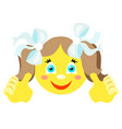 smiley girl with finger gesture with both hands vector image vector image