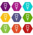 spring scale icon set color hexahedron vector image vector image