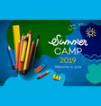 themed summer camp poster 2019 creative vector image