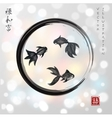 Three little goldfishes in black enso zen circle vector image vector image