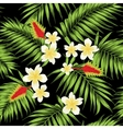 Tropical leaves and flowers seamless pattern vector image vector image