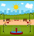 view of a playground with slides vector image vector image