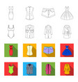 women clothing outlineflet icons in set vector image vector image