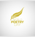 World poetry day logo icon design