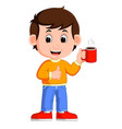 young man drinking coffee vector image
