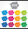 Calendar of 2015 with piggy bank concept design vector image